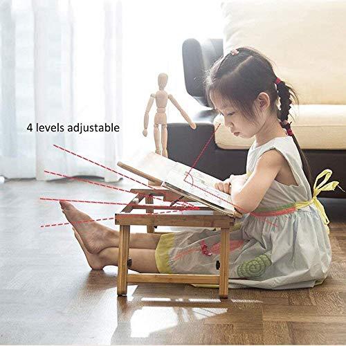 DEED Kleiner Tisch Haushalt Bambus Laptop Schreibtisch Serving Bett Tablett Frühstück Kipp Top mit Schublade Einfache Moderne Schlafzimmer einfache Studie Tabelle,70-34cm -
