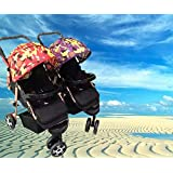BabyTeddy® Baby Twin Stroller Detachable Easy Foldable Twin Stroller and Pram for Kids with Two Free Matching Diaper/Utility