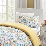 URBAN HABITAT Nina Luxury Beautiful Floral Birds Printed Duvet Cover and Pillowcase Set, Trendy Quilt Bedding Sets (Multi-Yellow, Single UK:135x200cm+50x75cm)