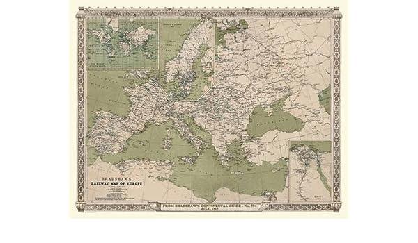 Buy Bradshaws Continental Railway Map Of Europe 1913 Luxury Rolled