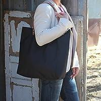 Bolso impermeable - Negro - Shopping bag - Maxibolso - Bolso al hombro hecho a mano en tela impermeable, con asas de piel desmontables