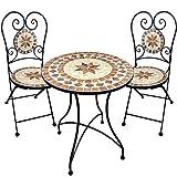 Set da Giardino Tavolo di Mosaico 2 sedie Fornitura sedie Tavolo da bistrot con sedie Zona Salotto Balcone Tavolo da Balcone con sedie