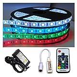 KOMPLETT SET: 5m - 30m LED RGB mehrfarbig Strip/Streifen / Stripes wasserfest mit Netzteil + Controller + Funk Fernbedienung (20m (4x 5m))