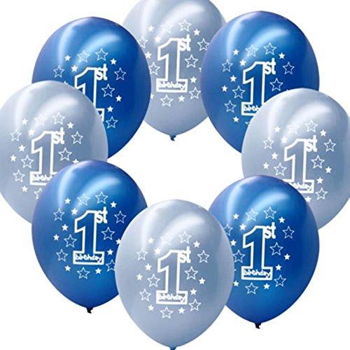 Fontee Baby 20 piezas 12'' globos primer cumpleaños decoraciones Baby Shower niño globos de látex nacarados impresos, azul / azul claro