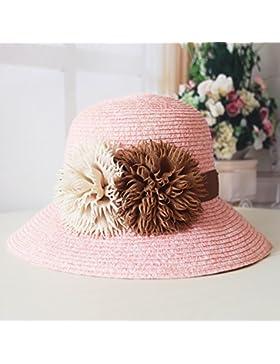 LVLIDAN Sombrero para el sol del verano Lady Anti-sol Gran cara ancha playa sombrero de paja rosa