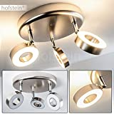 LED Deckenlampe 3-flammig - Deckenstrahler Habo aus Metall in Nickel matt - Deckenleuchte mit verstellbaren LED-Spots - Zimmerlampe für Wohnzimmer, Schlafzimmer, Flur - 3000 Kelvin - 1200 Lumen