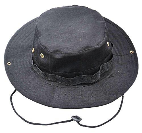 JITTY Chapeau De Camouflage Militaire Chapeau De Soleil Aux Bords Arrondis Boonie Sun Hat pour L'été en Plein Air Randonnée Pêche Jardinage Chasse Camping Wargame (Noir)