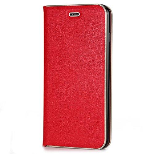 NEU TPU+ Ledertasche im Ständer Book Case unsichtbarem Magnetverschluss Handytasche GY-honeq für Apple iPhone 6plus (5.5 zoll Wein) Rote
