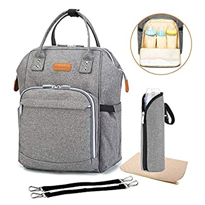 Diaper Backpack Bag with Wide Open Design, Changing Pad, Insulated Cooler Pocket for Bottle Storage, Stroller Straps, for Boys or Girls, Mom or Dad
