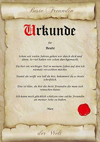 Urkunde personalisiert Geschenk Karte beste Freunde Freundin Freund der Welt Pergament div. A4 Papier Motive