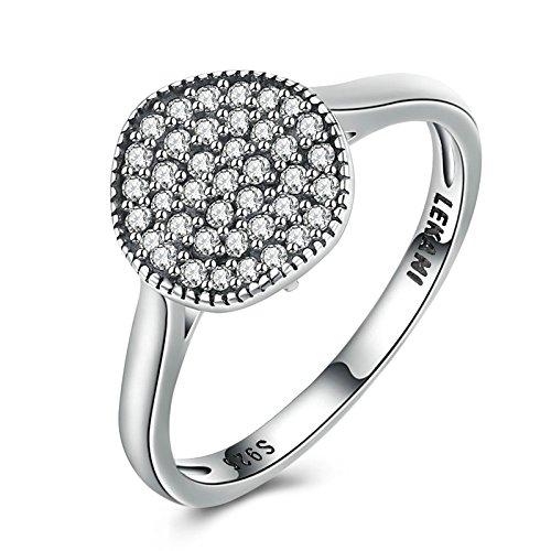 Blisfille Damen Ringe Silber 925 Ringe Mädchen Sterling Silber Ringe Damen Trauringe Silber Runde Diamant Cluster Kristall Ringgröße 60 (19.1) Ring