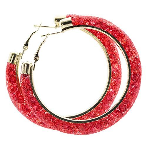 Netzoptik Ohrringe rot Creolen Nylon Netzschlauch mit bunten Kristallen gefüllt in versch. Farben