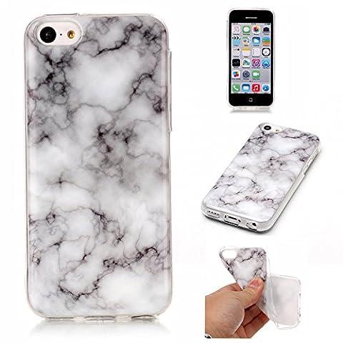 Cozy Hut Für iPhone 5C Handyhülle mit Marmor / Marble Design(grau / weiß)   Handytasche     Schale     Hülle     Case   Handy-etui   TPU-Bumper   Soft Case   Schutzhülle Cover für den optimalen Schutz ihres Apple iPhone 5C (4 Zoll) - Rauch weißer Marmor