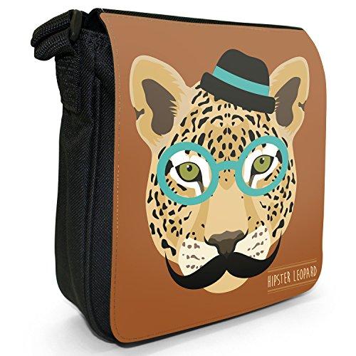 Tiere Hipster Bohemian Kleine Schultertasche aus schwarzem Canvas Hipster trendiger Leopard