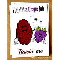 You Did A Grape Great Job Raisin' Me Funny Greetings Card Comical Hilarious Witty Cute Joke Sarcastic Mum Dad Step Dad Step Mum Teacher Auntie Uncle Family Nan Grandad Leaving School Mother's Day Father's Day Christmas Birthday Thanks Just Because Grateful