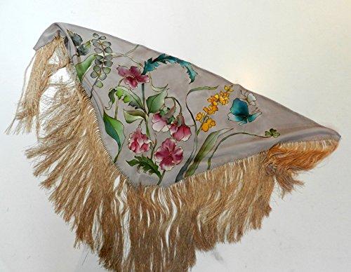 Mantón de seda de flamenca pintado a mano