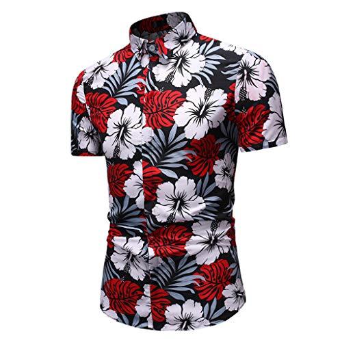 ihemd 3D Gedruckt Blumen Muster Kurzarm T-Shirts Sommer-Beiläufige Kurze mit Button Down Graphic Hemden T-Stücke Freizeit Oversize Basic Hemd Tops Bluse ()