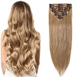 [40cm - 27#Blond Foncé] Extension Naturel a Clips [8 Bandes à 18 Clips] Sans Shedding/Tangle/Noeud