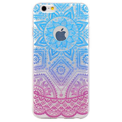 JIAXIUFEN Transparent TPU Silikon Schutz Handy Hülle Case Cover Handyhülle Schutzhülle Rosa Glitzer Durchsichtig Blumen Tasche Etui Bumper für Apple iPhone 6 6S - weiß Tribal Mandala Color18