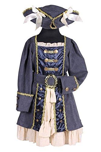 Thetru 2110 Kinderkostüm Piratenkapitän Mädchen Blau 3-Teilig Kleid Gürtel Hut Pirat Piratenkostüm Seefahrer Karibik Kinderkostüm Kostüm Kinder Kind Karneval Fasching Verkleidung Blau (Kostüme Pirat Karibik Kind)