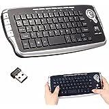 BESTRUNNER Mini Trackball Teclado USB Inalámbrico 2,4 GHz Air Mouse Reino Unido Miniteclado con Touchpad Mini-Teclado para Televisión, TV, X-Box, Ordenador