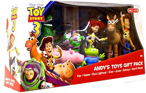 (Disney / Pixar Toy Story 3 - Exclusive Action Figure 7 Pack - Andys Toys Gift Pack - incl. Buzz Lightyear, Woody, Jessie, Bullseye, Rex, Hamm & Alien)