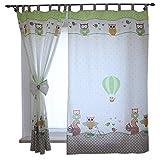 TupTam Kinderzimmer Vorhänge 2er Set mit Schleifen 155x95cm , Farbe: Eulen 2 Grün, Größe: ca. 155x95 cm