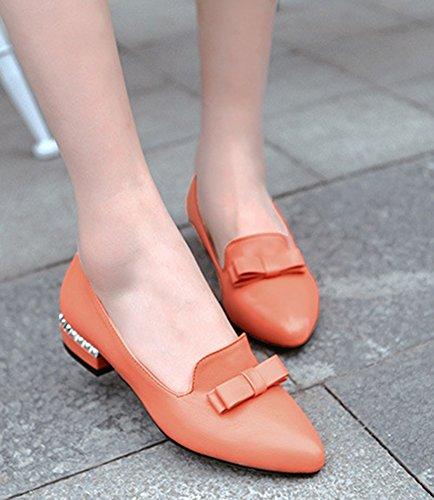 Aisun Femme Elégant Petit Talon Bout Pointu Escarpins Orange