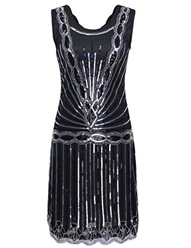 PrettyGuide Dame 1920er Jahrgang Downtown Art Deco Sequin Inspired Gatsby Flapper Kleid Schwarz L