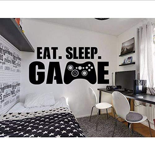 Lvabc Große Gamer Wandtattoo Essen Schlaf Spiel Controller Video Spiel Wandaufkleber Für Kinder Teen Schlafzimmer Vinyl Wandkunst Deco 89X42 Cm