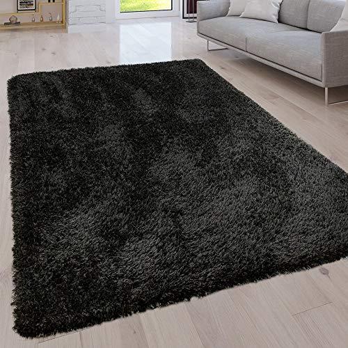 Paco Home Hochflor Wohnzimmer Teppich Waschbar Shaggy Uni In Versch. Größen u. Farben, Grösse:80x150 cm, Farbe:Schwarz -