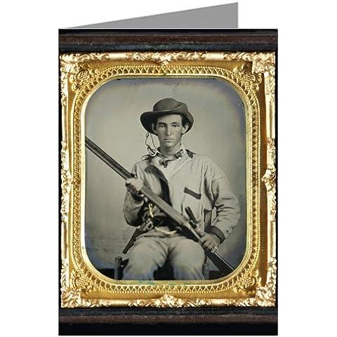 Vintage-Confezione da 6 biglietti d'auguri, Confederate soldier-Camicia da caccia, da uomo, verde militare scuro, Tipo, con bordo doppio, shotgun, revolver, laterale e della guerra civile coltello. - Civile Coltello Guerra