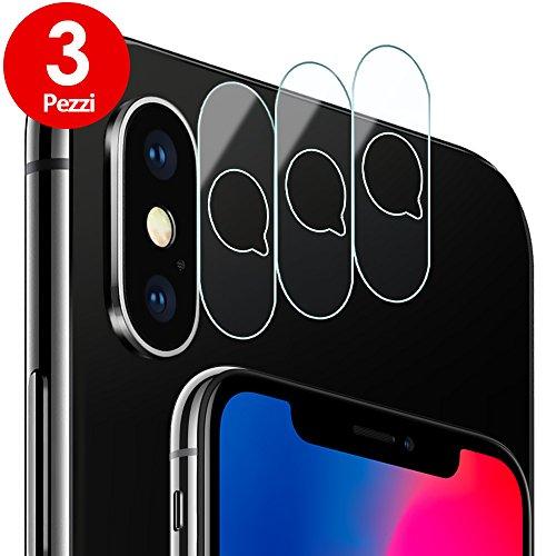 Pellicola Fotocamera iPhone X, [3 Pezzi] G-Color Pellicola Sottile Vetro Temperato Fotocamera Posteriore, Antigraffio [Facile da Installare] Trasparente Pellicola Vetro Lente della Fotocamera per iPhone X