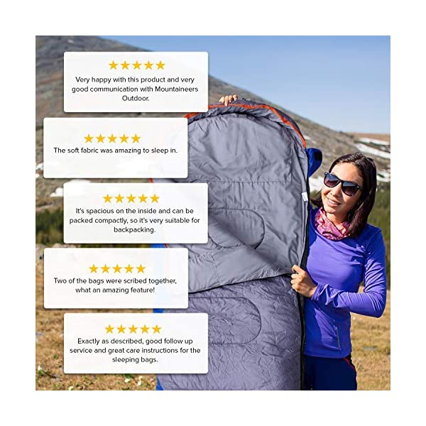 Mountaineers Outdoor Sleeping Bag, 4 Season, XL Pillow Pocket & Water Resistant Outer Shell - Including Foot Zipper… 6