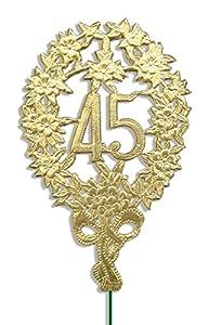 kunze a014041451aniversario número 45con alambre de sujeción, 10unidades, Oro, 8x 12cm