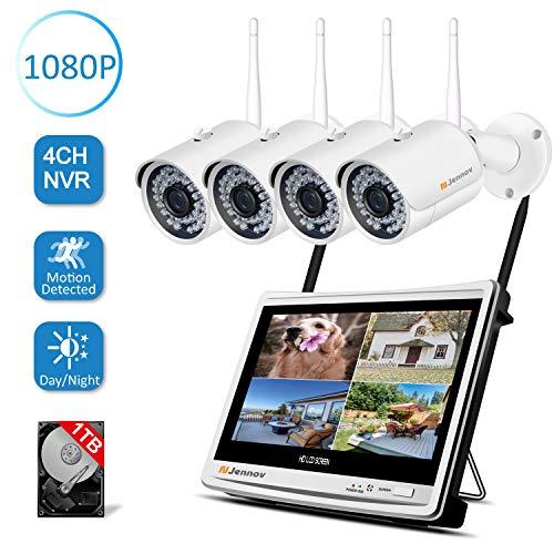 Jennov 4CH Überwachungskamera Set 1080P HD NVR Wireless Überwachungssystem mit 4 x Sicherheitskamera 12 Zoll LCD Monitor Bewegungsmelder 1TB Festplatte APP Fernzugriff IR Nachtsicht für Außen Innen