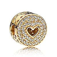 Biggold Fit Pandora Bracelet Happy Anniversary Charm S925 Clear CZ Love Heart Beads for Women Bracelet&Necklace Gold