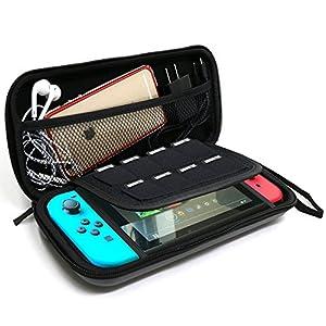 Nintendo Switch Case, HomewizeTM EVA Wasserdichte Harte Schild Schützende Tragetasche mit abnehmbarem Handhandschlaufe für Nintendo Switch Console mit Joy-Con Controller und Game Card