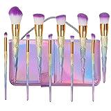 Make Up Pinsel Set BYBO 10Pcs Einhorn-Regenbogen-Diamant-Handgriff-Verfassungs-Bürsten gesetztes Grundlagen-Creme-Puder-Höhepunkt-Kontur-kosmetischer Schönheits-Bürsten-Installationssatz