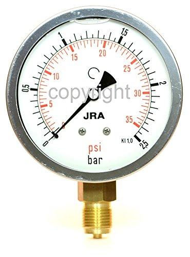 """JRA-LONGLIFE-Glyzerin-Manometer 0-2,5 bar/psi NG100 Anschluss unten G1/2"""""""