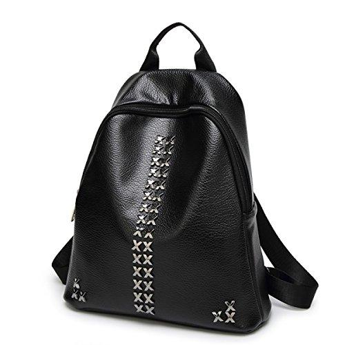Frauen PU Leder Rucksack New Fashion Female Nieten Daypack Reise Rucksack Student Umhängetasche Black