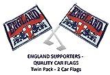 England St. George Cross 2Löwen Hand winkt/Kfz Flagge combunied (entweder oder beide). Englisch Supporters Hand oder Auto Flaggen–Value Pack 2Flaggen.