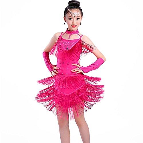 ZooBoo Kinder Mädchen Latein Tanzkleid - Moderne Latin Tänze Walzer Tango Salsa Swingtanz Praxis Training Party Wettbewerb Kostüm Tanzrock Trikot Bekleidung Accessoires Quasten Pailletten Dekoration Zubehör (Roserot, 120 cm) (Jive Tanz Kostüm)