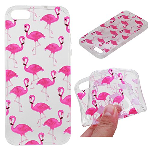 iPhone 5S Hülle, iPhone SE Hülle, Gift_Source [ Meow Cat ] Hülle Case Transparent Weiche Silikon Schutzhülle Handyhülle Schutzhülle Durchsichtig TPU Crystal Clear Case Backcover Bumper Case für iPhone E1-Flamingo