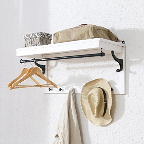 Portemanteau Tenture murale solide bois porte-manteau crochet créatif porte-manteau Hall chambre mur cintre (Couleur : Blanc)