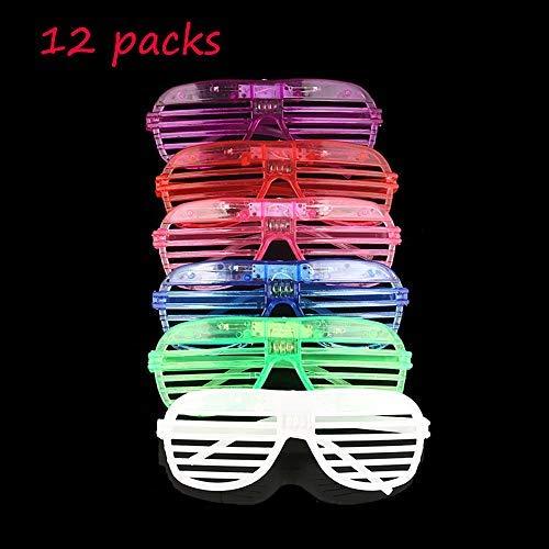 Mosie EL Leuchten Brille LED Leucht Partybrille 12er Pack Blinkend mit Farbwechsel Party Kostüm Disco Ball Clubs Geburtstagsfeiern Feste Festivals Kinder Spielzeug
