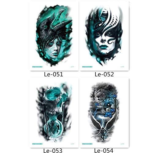 Halloween Gefälschte und echte tempo tattoo aufkleber 4pcs Luminous tattoo aufkleber in einem Paket, darunter Tiger böse Tattoos, Frauenkopf, böse Tattoos. ()