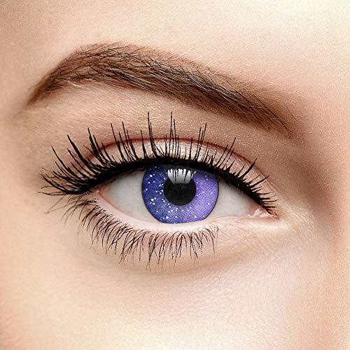chromaview 3er Pack Galaxy 90 Tage Farbige Kontaktlinsen Ohne Stärke (Violett)