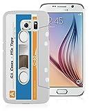 Etui de créateur pour Samsung Galaxy S6 - Etui / Coque / Housse de protection blanc, bleu et orange en Plastique Rigide (arrière rigide) avec motif cool cassette rétro