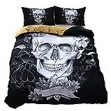 """Ktlrr Decor set copripiumino King Size, teschio floreale festive Graveyard Messico rituale cifre Mask design su sfondo nero, 100% microfibra, decorativo da 3pezzi con 2federe, Skull, King(90""""x86"""")"""